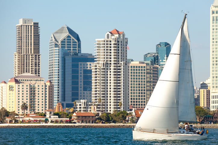 Downtown San Diego, California and Sail Boat