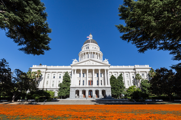 California state capitol building with poppy field.