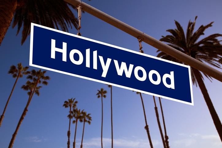 Hollywood redlight sign illustration over LA Palm trees background. Photomount