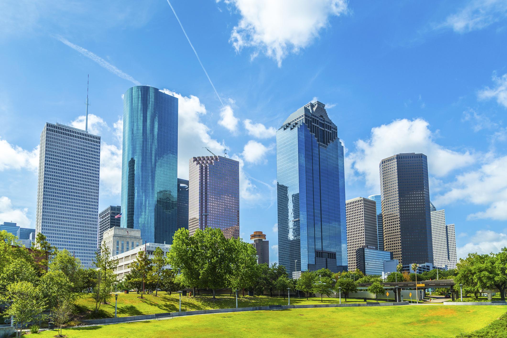 Skyline of Houston, Texas in daytime under blue sky